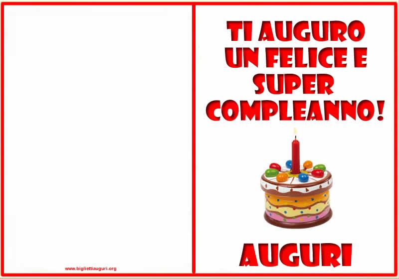 Biglietto Auguri Compleanno - Biglietti compleanno da stampare