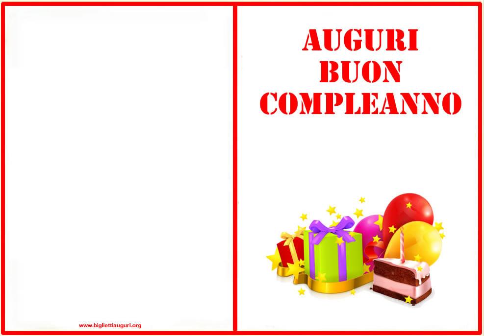 Bien-aimé Auguri Compleanno - Biglietto auguri compleanno da stampare XE99